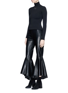 Ellery 'Sinuous' cropped full flare leather pants
