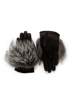 ALEXANDER MCQUEEN Stud cuff fox fur short leather gloves