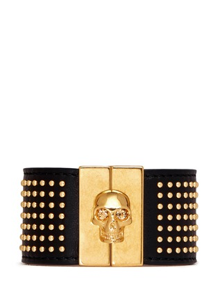 Main View - Click To Enlarge - Alexander McQueen - Stud skull leather bracelet