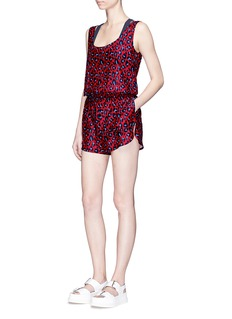 Stella McCartney 'Animal' leopard print cotton-silk rompers