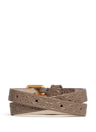 Back View - Click To Enlarge - Alexander McQueen - Skull charm double wrap embossed leather bracelet
