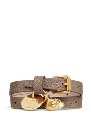 Main View - Click To Enlarge - Alexander McQueen - Skull charm double wrap embossed leather bracelet