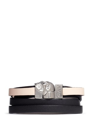 Main View - Click To Enlarge - Alexander McQueen - Triple strap skull leather bracelet