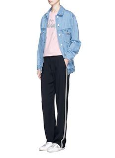 Etre Cecile Flamingo and star appliqué oversized denim jacket