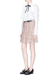 Gucci Horsebit belt pleated tweed skirt
