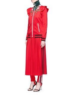 Gucci Floral appliqué tech jersey turtleneck track jacket