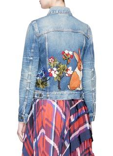 GUCCI Hollywood花卉兔子刺绣徽章牛仔夹克