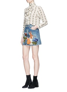 Gucci Bunny floral appliqué denim skirt