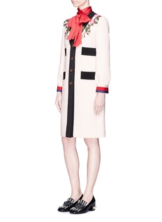 Gucci GG pearl button grosgrain ribbon wool coat