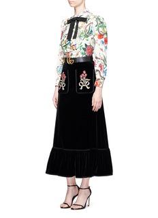GucciFloral embellished velvet maxi peplum skirt
