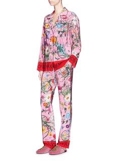 Gucci 'Floral Snake' print silk pyjama shirt