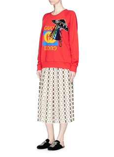 Gucci 'Web Kisses' print pleated silk crepe skirt