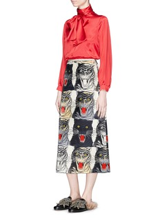 Gucci Tiger Face print silk duchesse skirt