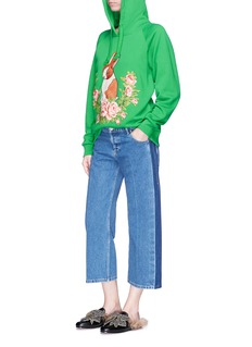 Gucci Floral rabbit appliqué French terry hoodie
