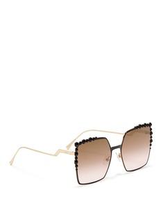 FendiStud corner metal square sunglasses