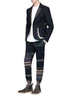kolor Stripe wool blend melton patchwork effect pants