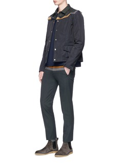 kolor Corduroy panel wool-cotton twill pants