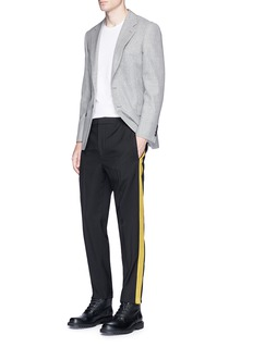 Alexander McQueen Satin outseam virgin wool twill pants