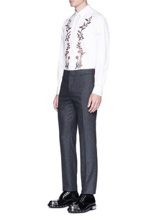 Alexander McQueenFloral embroidered poplin shirt
