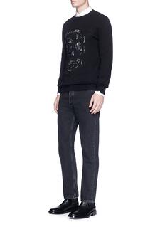 Alexander McQueen'Punk Skull' metal ring distressed sweater