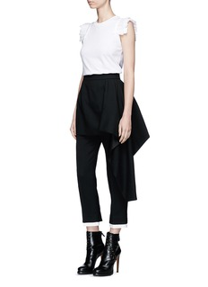 Alexander McQueen Pleated shoulder cotton top