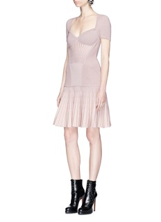 Alexander McQueen Metallic fluted armour knit dress