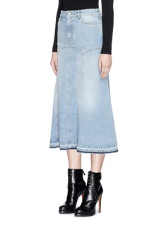 Alexander McQueen Flared hem light wash denim skirt