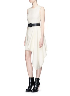 Alexander McQueen Side drape sleeveless cady crepe dress
