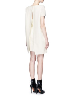 Alexander McQueen Structural cape back belted cady crepe dress