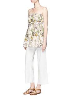 Alexander McQueen'Wild Iris' print silk crepe de Chine tube top