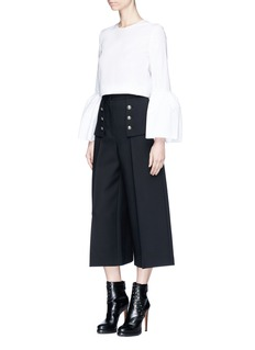 Alexander McQueenMilitary button side flap box pleat culottes