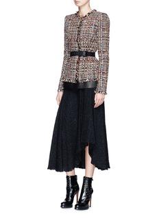 Alexander McQueen Asymmetric ruffle tweed midi skirt