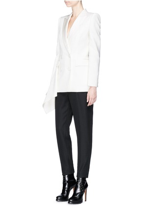Figure View - Click To Enlarge - Alexander McQueen - Drape side double breasted blazer