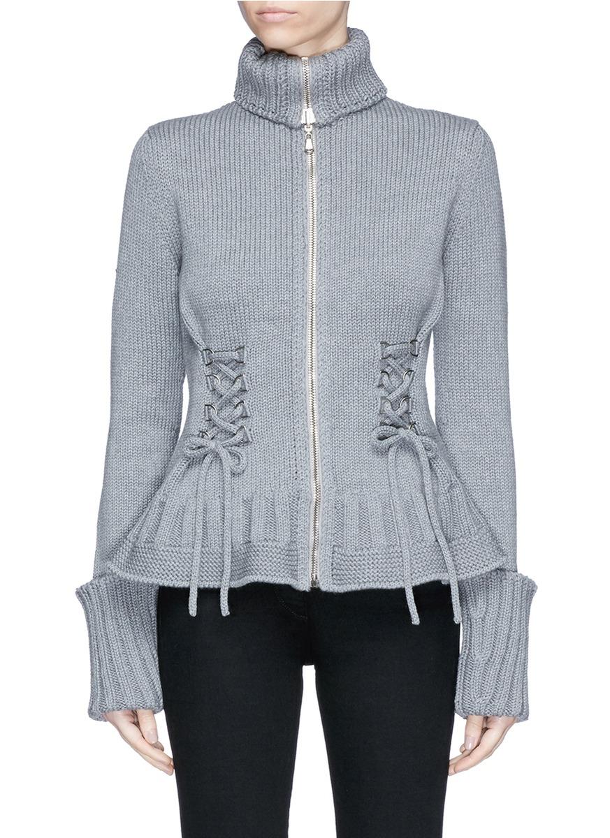 Alexander McQueen | Lace-up chunky wool knit cardigan | Women ...