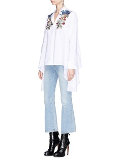 Alexander McQueen Falcon and floral appliqué cotton poplin shirt