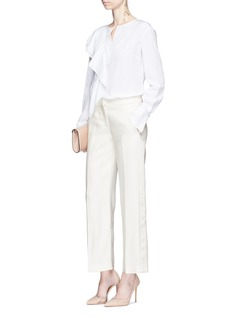 Alexander McQueen Satin outseam wide leg suiting pants