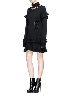Alexander McQueen Lace-up chunky wool knit peplum dress