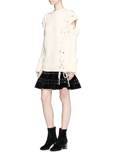 Alexander McQueen Lace-up slashed shoulder wool sweater