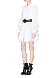 Alexander McQueen Swallow jacquard ruched cotton poplin mini dress