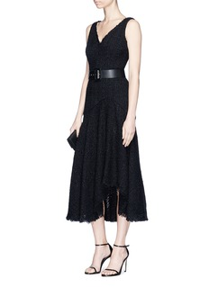 Alexander McQueen Asymmetric hem sleeveless tweed dress