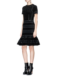 Alexander McQueen Eyelet velour panel peplum dress