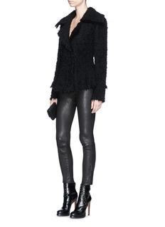 Alexander McQueen 'Boa' frayed bouclé knit peplum jacket