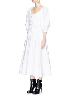 Alexander McQueen Bow tie smocked cotton poplin long dress