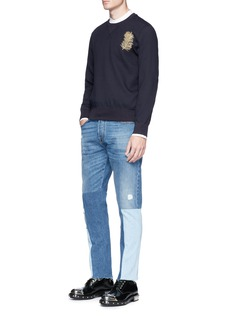 Alexander McQueen Peacock feather embroidered crepe sweatshirt