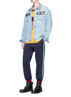 Gucci Velvet outseam cotton drill jogging pants