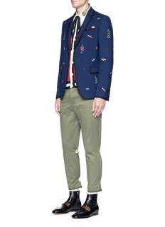 Gucci Motif embroidered wool-mohair blazer