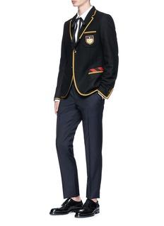 Gucci Crest appliqué contrast trim soft blazer