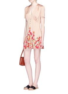 LPA'Border Floral' print ruched satin dress