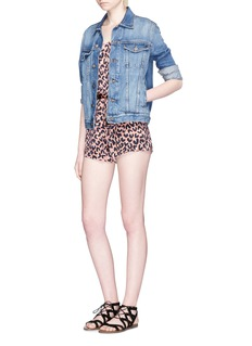 LPA Leopard print stretch satin rompers