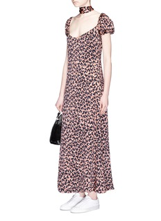 LPASash scarf leopard print stretch satin dress